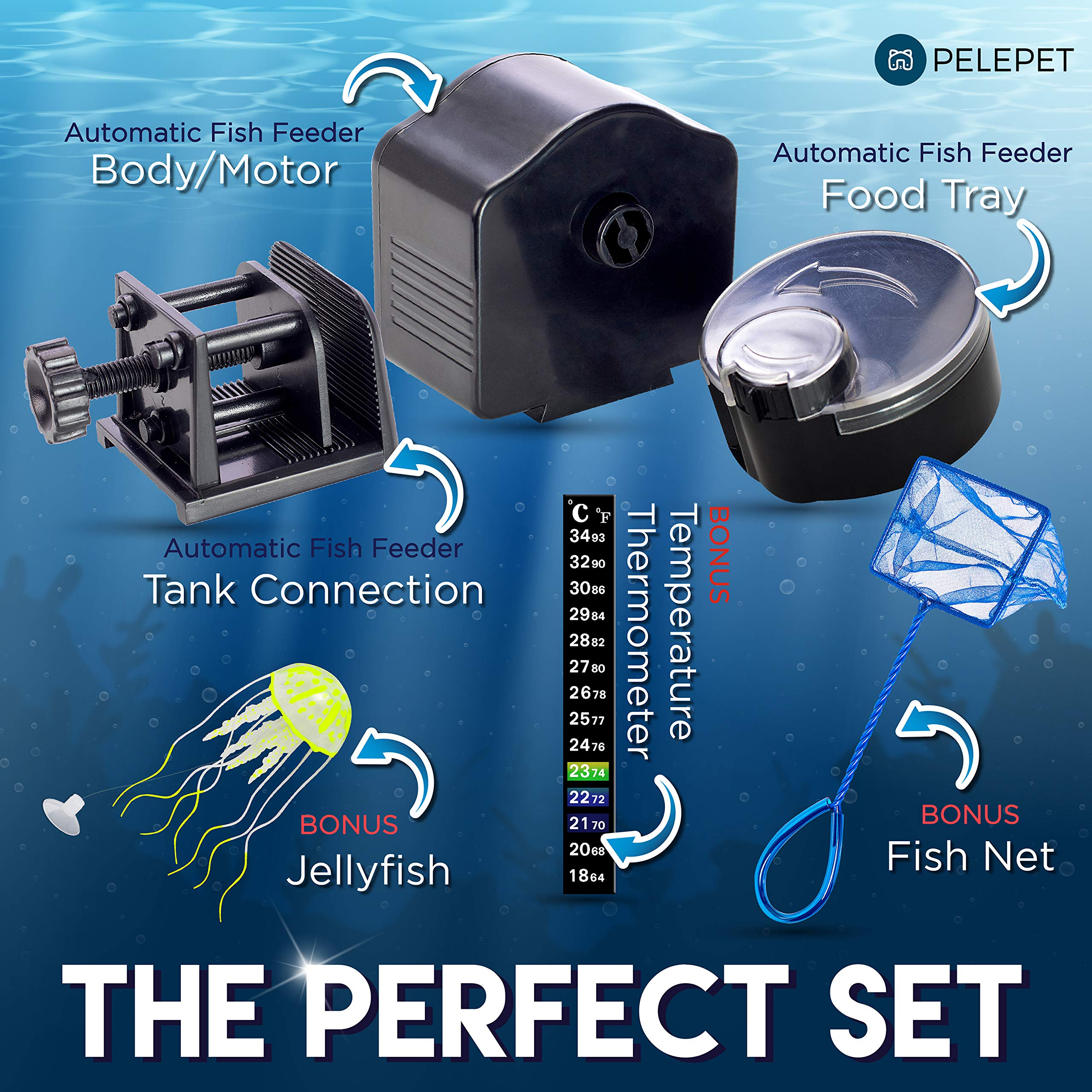 PELEPET Automatic Fish Feeder - Aquarium Feeder - Fish Food Vacation Feeder - Auto Feeding Unit + Net for Fish Tank, Thermostat & Jelly Fish - Everyday Fish Food Dispenser by PELEPET (Image #3)