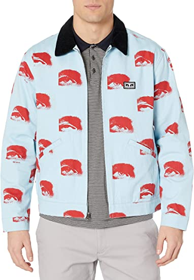 Printed Zip Jacket With Contrast Corduroy Collar. OBEY mens Boxy Fit
