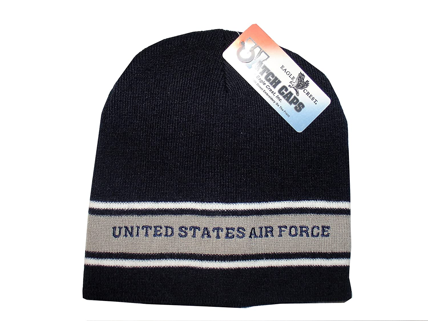 Amazon.com  Offically Licensed Embroidered Air Force Blue Grey Stripe  Beanie Stocking Cap Military  Sports   Outdoors 79582f27bcd3