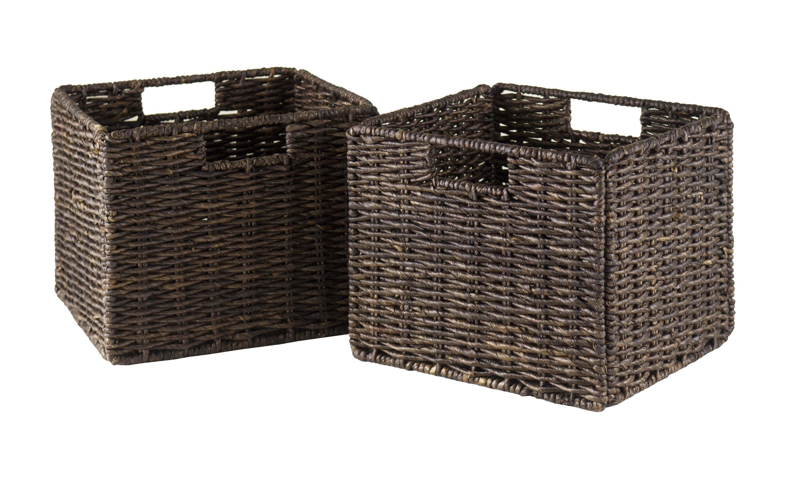 Granville Foldable 2-PC Small Corn Husk Baskets, Chocolate