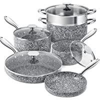 MICHELANGELO Stone Cookware Set 10 Piece, Ultra Nonstick Pots and Pans Set with Stone-Derived Coating, Kitchen Cookware…