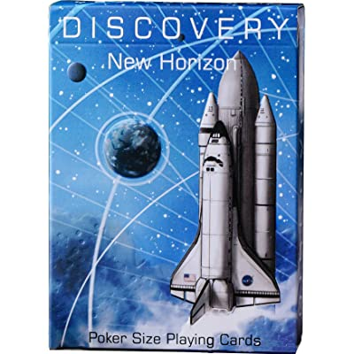 Discovery Blue Playing Cards, Space Themed Deck of Cards with Astronaut Designs, Premium Card Deck, Cool Poker Cards, Unique Bright Colors for Kids & Adults, Red Blue Color, Standard Size: Sports & Outdoors