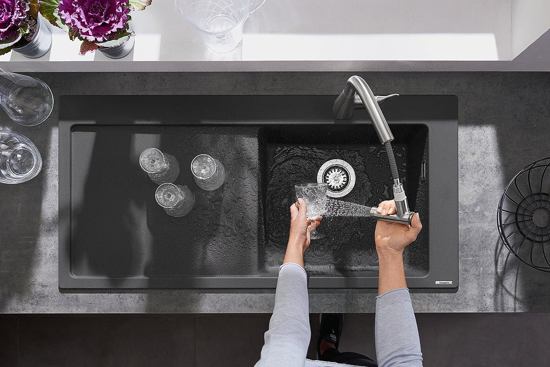 220 mm Hansgrohe 14834000 Metris Grifo de cocina con ducha extra/íble Cromo