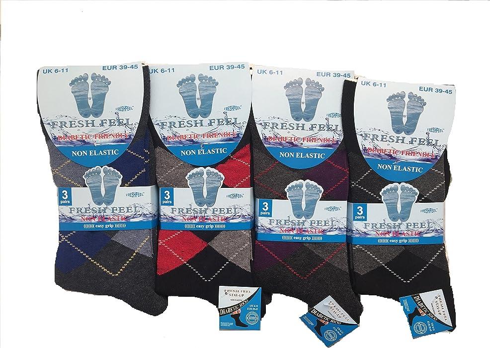 6 Pairs Mens 100/% Pure Cotton Mans Non Elastic Diabetic Antibacterial colourful socks UK Size 6-11