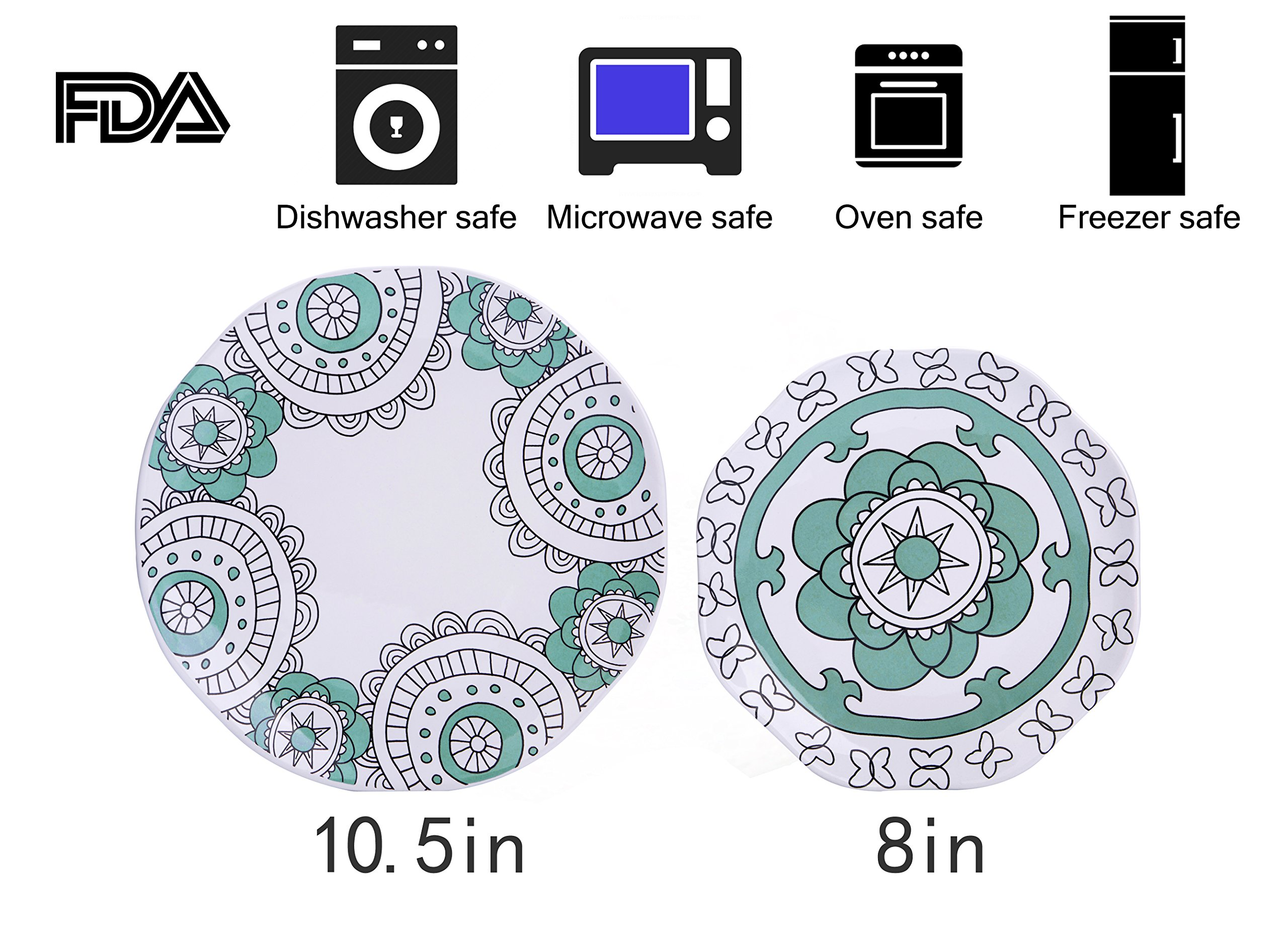 Dinner Plates Appetizer Salad Plate Set 4, Porcelain Mint Blue, Floral Pattern, Accent Serving Plates by LA JOLIE MUSE (Image #6)
