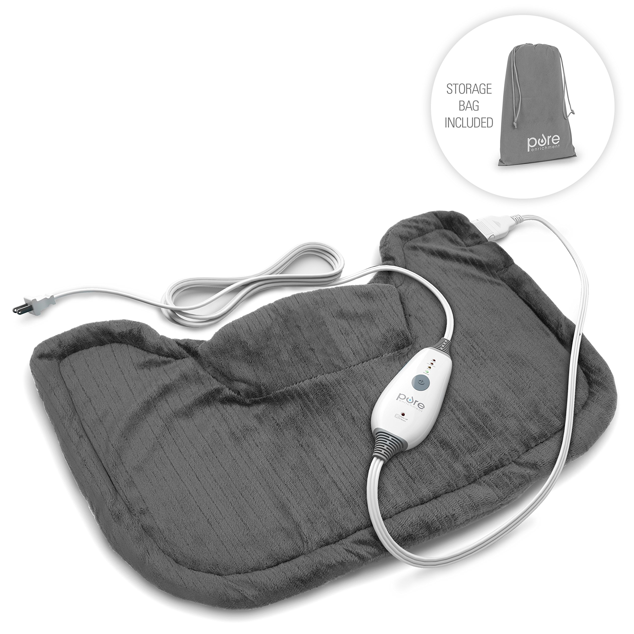 Pure Enrichment PureRelief Neck and Shoulder Heating Pad (Charcoal Gray) - Fast-Heating Technology with Magnetic Neck Closure, 4 Heat Settings, Moist Heat Therapy Option and Convenient Storage Bag by Pure Enrichment