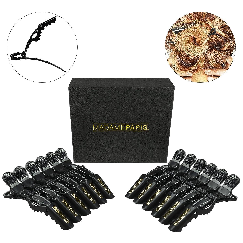 MadameParis - Set de 12 Pinces Professionnelles pour Cheveux - Pinces Crocodiles Qualité Salon de Coiffure - Pour tous Types de Cheveux MP352