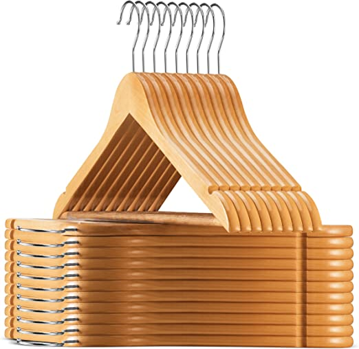 Precisely Cut Notches Premium Heavy Duty Wooden Coat Hangers with Trouser Bar 20 Pack High Quality Wooden Hangers, Cherry Wood Clothes Hangers by Zober Extra Smooth Finish