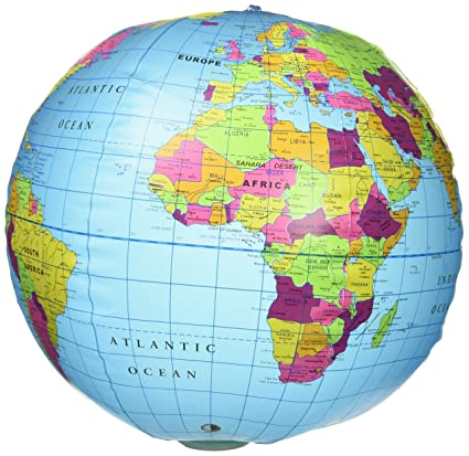 "BLUE/"" Political World 32/"" Inflatable Earth Globe /""LT Blowup Beach Ball"