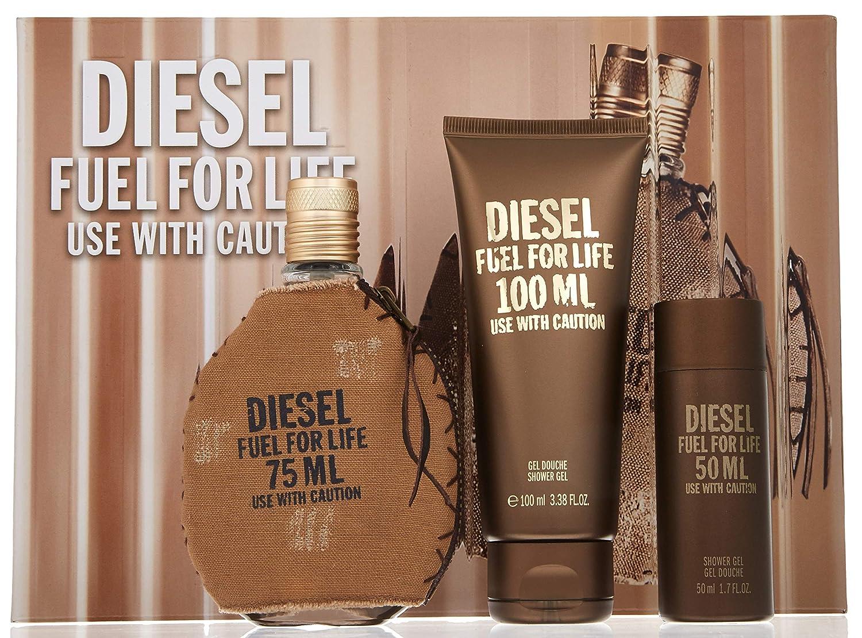 Diesel Fuel for Life by Diesel for Men 3 Piece Set Includes: 2.6 oz Eau de Toilette Spray + 3.4 oz Shower Gel + 1.7 oz Shower Gel