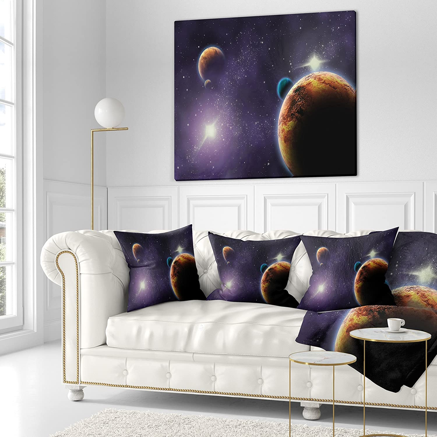 Sofa 18 in x 18 in. Designart CU6721-18-18 Planets in Deep Dark Space Contemporary Throw Cushion Pillow Cover for Living Room