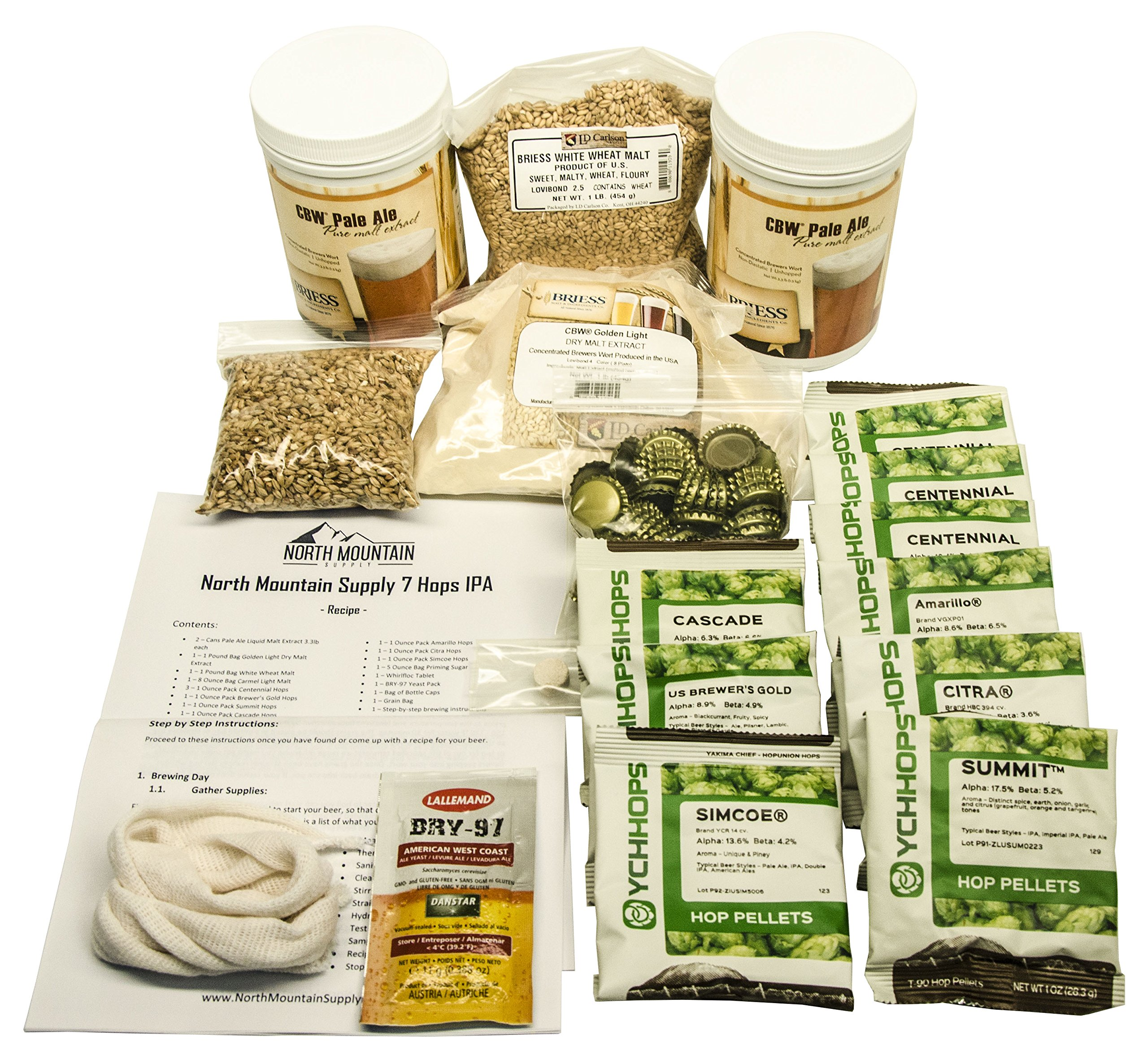 North Mountain Supply 7 Hops IPA Recipe Ingredient Kit - with Step-by-Step Instructions by North Mountain Supply (Image #1)
