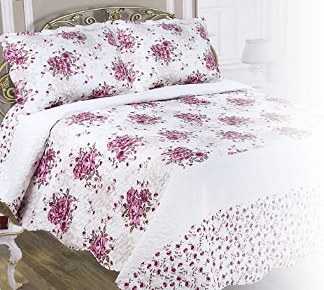 3 Piece Quilt Set With Shams Reversible Bedspread Matelasse Bedcover Double Sided  Bedding Coverlet Lightweight