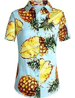 SSLR Camisa Mujer Blusa Hawaiana Aloha de Coconut Palmera Manga Corta: Amazon.es: Ropa y accesorios