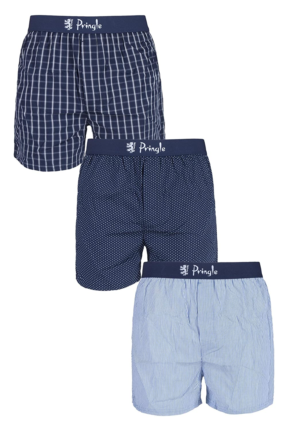 5c4ade960b30 Mens 3 Pack Pringle 100% Cotton Check Dot and Stripe Woven Boxers Navy  Small: Amazon.co.uk: Clothing