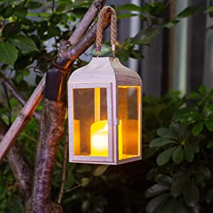 Decorative Lantern, Cream Hanging Candle-Holders, 9.84-inch High Vintage Style Home Decorative Candle Lantern, Indoor &Outdoor Wedding & Party & Christmas Decorative Lantern (Cream)