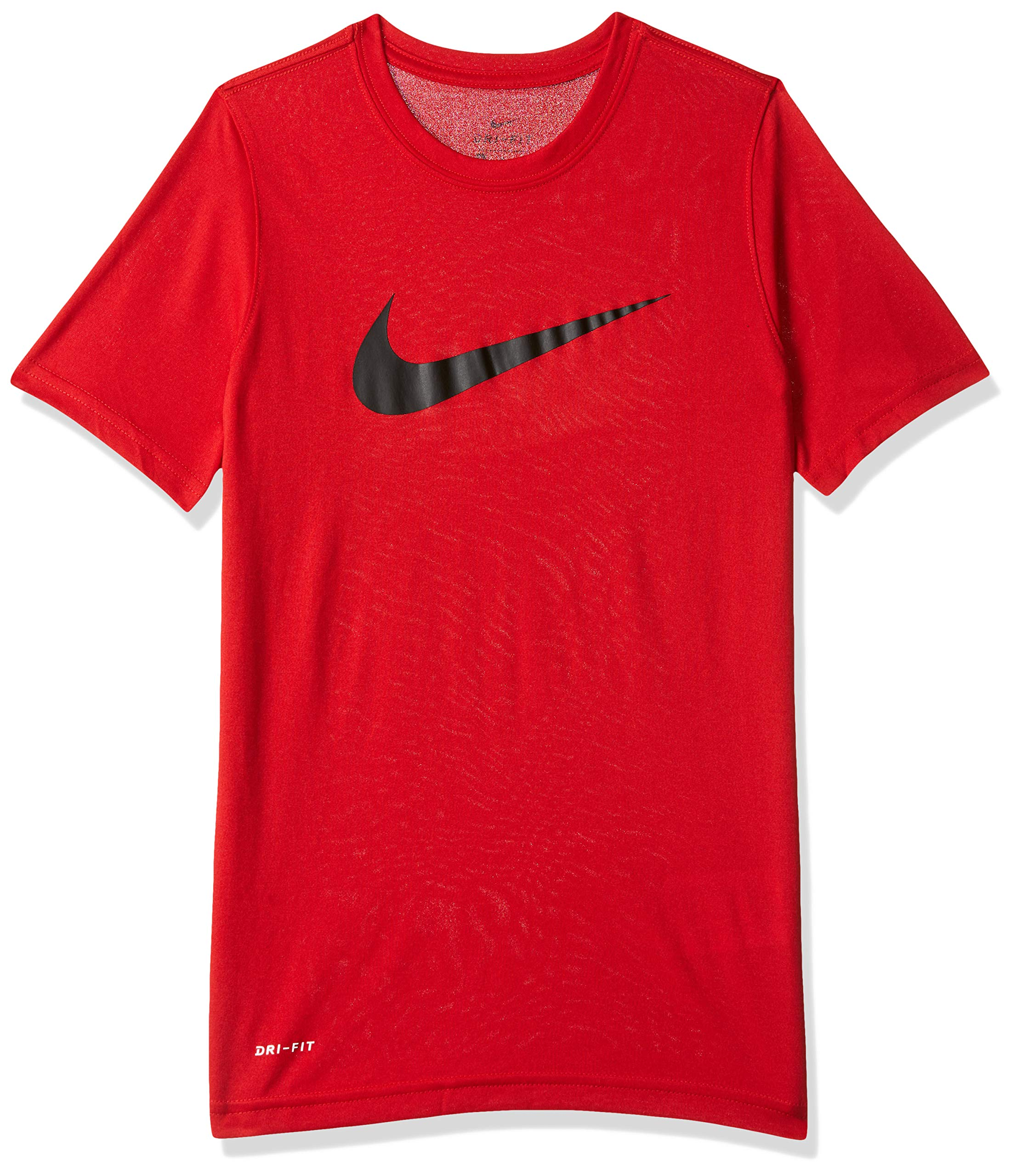 NIKE Boys' Dry Short Sleeve Swoosh Solid Tee, University Red/White, Small