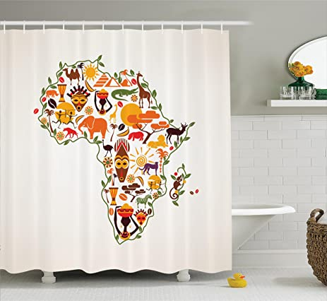 African Decorations Shower Curtain Set By Ambesonne Africa Travel Map Plan Traditional Objects Continental Ethnic