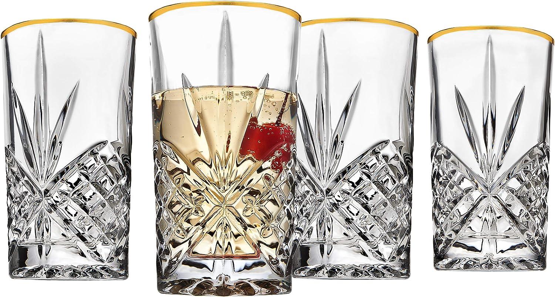 Godinger Highball Drinking Glasses Cups, Gold Band - Dublin, Set of 4