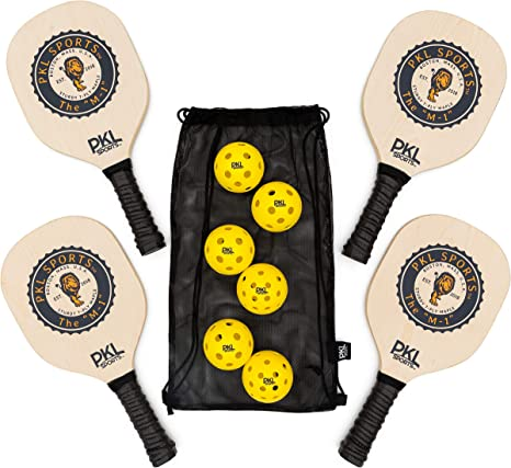 PKL Sports Pickleball Paddle Set of 4 Maple Wood Paddles 3 Indoor Balls 3 Outdoor Balls Mesh Bag - Great Rackets for Beginners