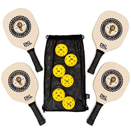 PKL Sports Pickleball Paddle Set of 4 Maple Wood Paddles 3 Indoor Balls 3 Outdoor Balls Mesh Bag