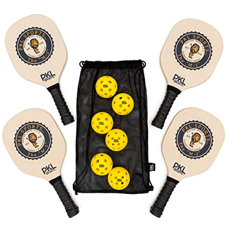 PKL Sports Pickleball Paddle Set de 4 Palas de Madera de Arce 3 ...