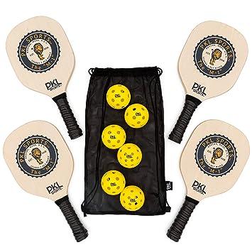 PKL Sports Pickleball Paddle Set de 4 Palas de Madera de ...
