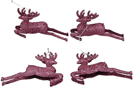 pack of 4 95cm blush pink glitter reindeer christmas decorations tree trims