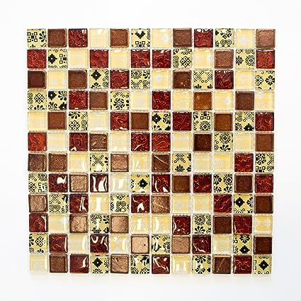 Carrelage beige pour carrelage mosaïque rouge en verre ...
