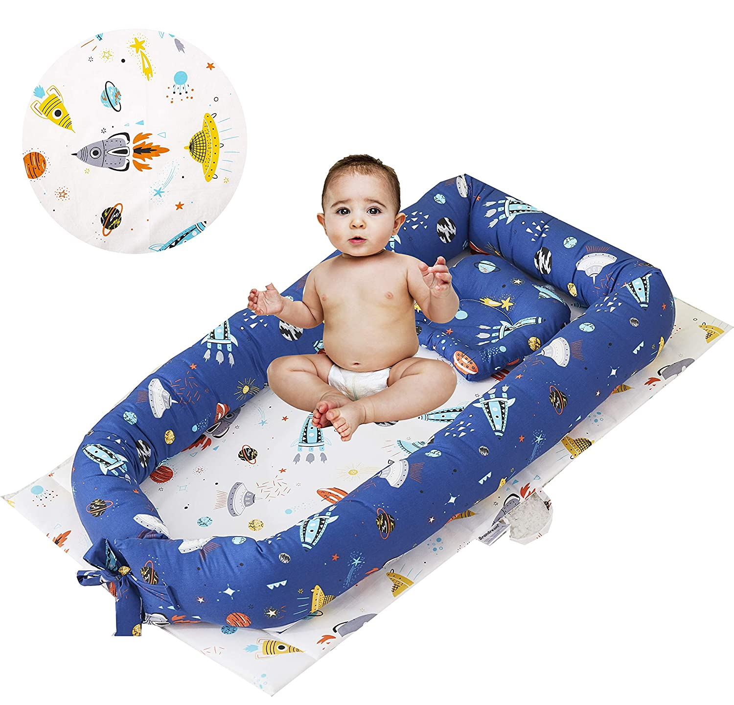 Brandream Baby Nest Bed Navy Blue Newborn Lounger Outer Space Portable Sharing Bed with Galaxy, Rocket& Planet Perfect for Co-Sleeping 100% Cotton Breathable & Hypoallergenic