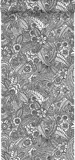 Papier Peint Intissé éco Texture Impression à La Craie Dessin De Fleurs Noir  Et Blanc