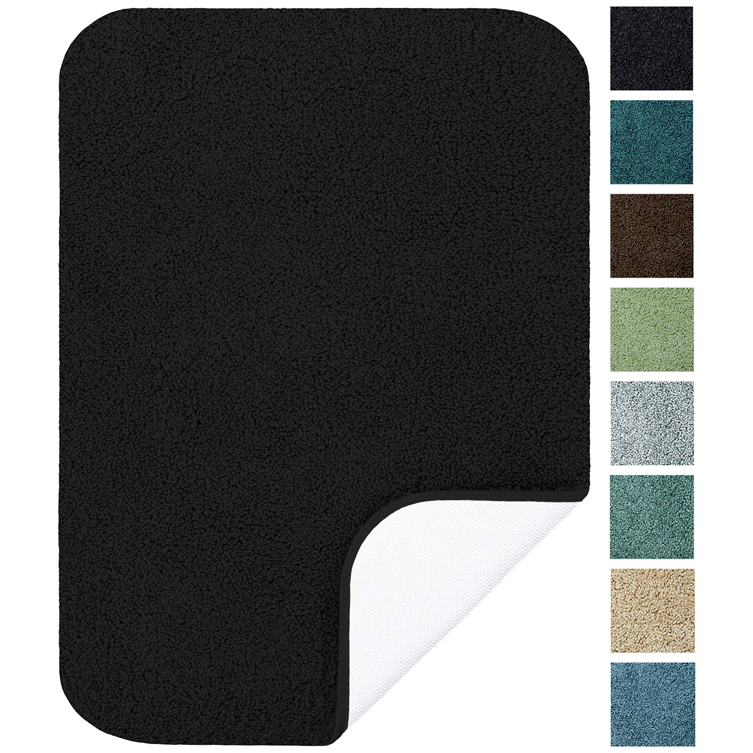 Maples Rugs Bathroom Rugs - SofTec 17'' x 24'' Non Slip Washable Bath Mat [Made in USA] Soft & Quick Dry for Vanity and Shower, Black