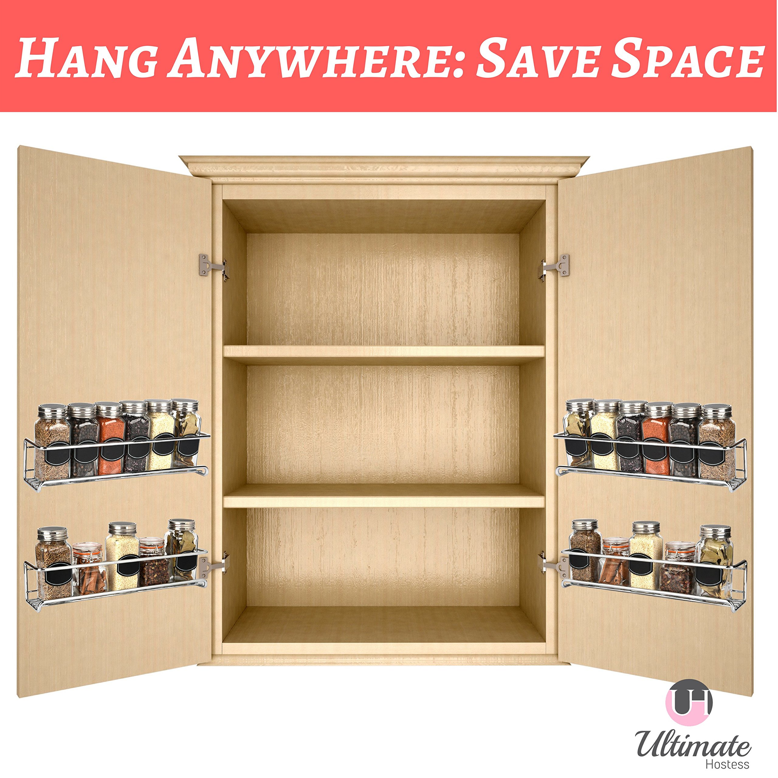 Spice Rack Organizer for Cabinet, Door Mount, or Wall Mounted - Set of 4 Chrome Tiered Hanging Shelf for Spice Jars - Storage in Cupboard, Kitchen or Pantry - Display bottles on shelves, in cabinets by Ultimate Hostess (Image #6)