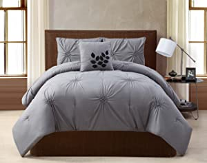 VCNY London 4-Piece Comforter Set, Queen, Gray