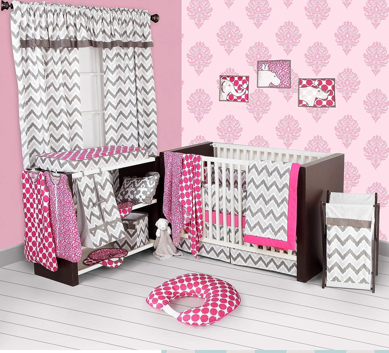 Bacati - Pink/grey Ikat Chevron Muslin 10 Pc Crib Set with Bumper Pad by Bacati   B01BGFN086
