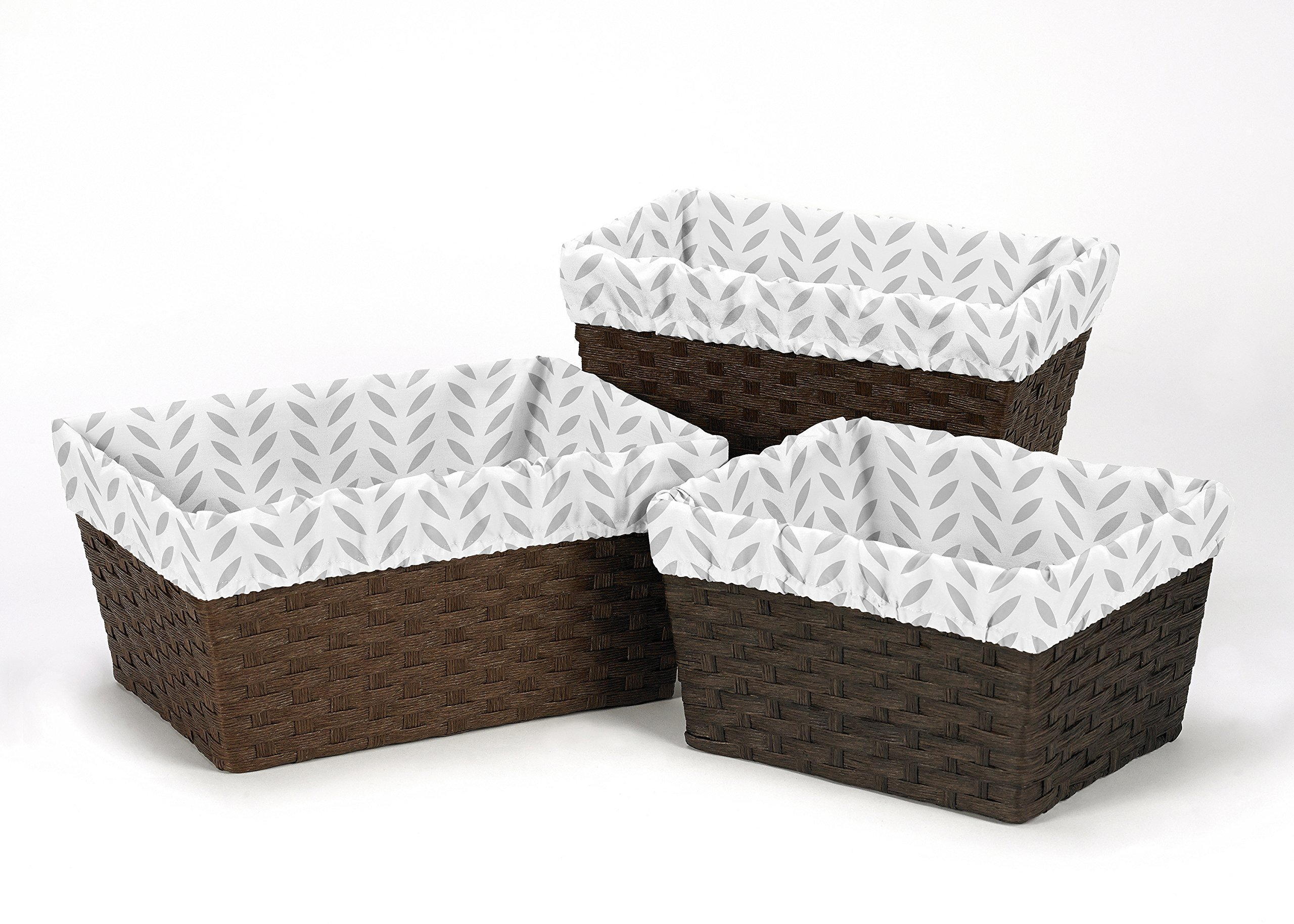 Sweet Jojo Designs 3-Piece Fits Most Grey and White Leaf Print Basket Liners for Forest Deer and Dandelion Bedding Sets