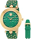 Versace Women's 'VANITAS' Swiss Quartz Stainless Steel and Green Leather Casual Watch (Model: VK7260015)