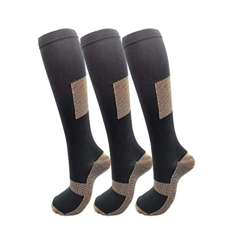 847f5114523dc7 HIGHCAMP 3PK Copper Compression Knee High Recovery Support Socks- Best  Copper Infused Fit Sock for