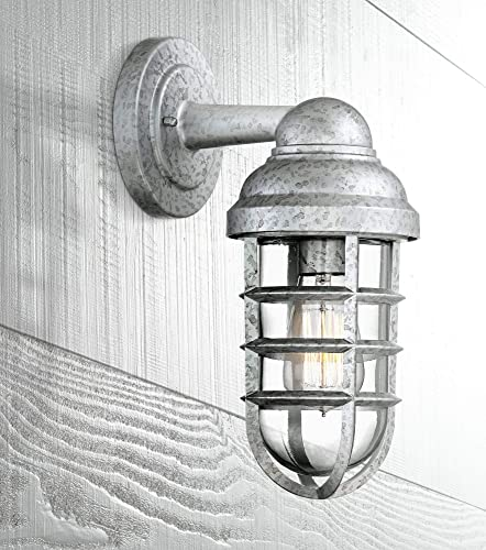 Marlowe Industrial Farmhouse Outdoor Wall Light Fixture Galvanized Steel 13 1/4″ Caged Clear Glass Up Down