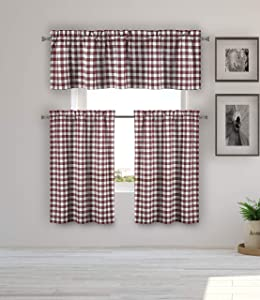 Home Maison Kaiser Kitchen Curtain, Red