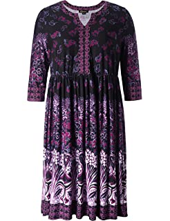 d28d2fbff67 Chicwe Women s Plus Size V Neck Floral Printed Dress - Knee Length Casual  and Work Dress