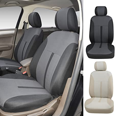 N16102 Grey Fabric 2 Front Car Seat Covers Compatible To Honda Accord CR Z