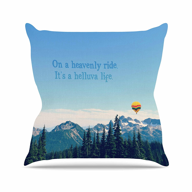 18 by 18 Kess InHouse Robin Dickinson Its A Helluva Life Blue Mountain Throw Pillow