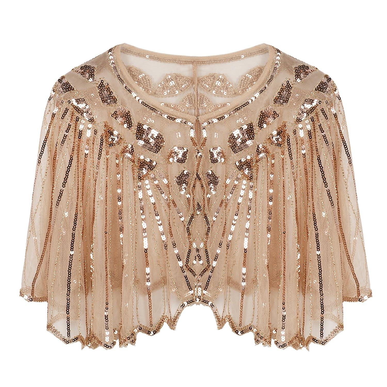 PrettyGuide ann/ées 1920 Femmes Ch/âle perl/ée Sequin Deco Soir/ée Bol/éro Cape Flapper Cover Up