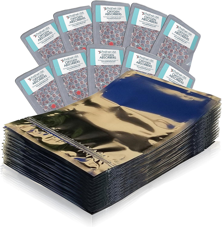 PackFreshUSA: 100 Pack - One Quart Seal-Top Mylar Bags (8