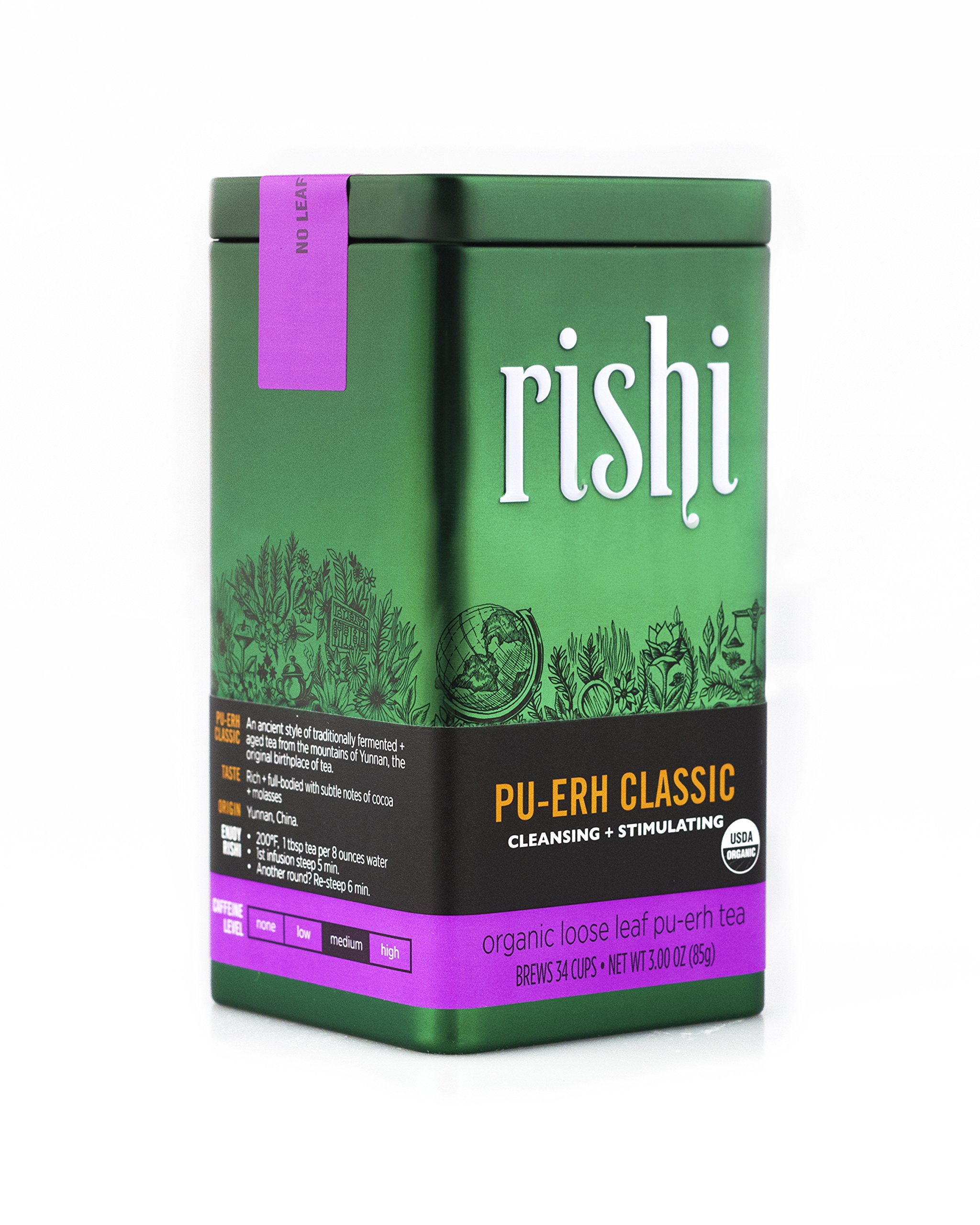 Rishi Tea Organic Pu-erh Classic Loose Leaf Tea, 3.00 Ounces Tin by Rishi Tea