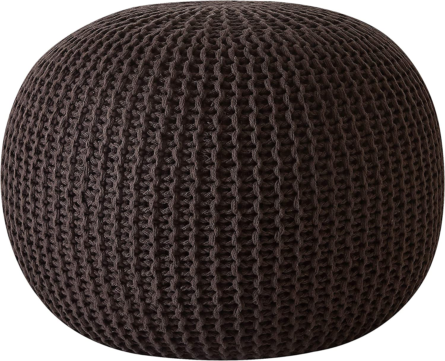 Urban Shop Round Knit Pouf - Hand Woven Cotton, Brown