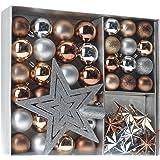 Home & Style 405556 Weihnachtskugeln Set 45-teilig inklusive Baumspitze Im Fensterkarton