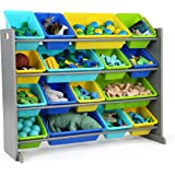 Tot Tutors WO498 Elements Collection Wood Toy Storage Organizer X-Large Grey/Blues