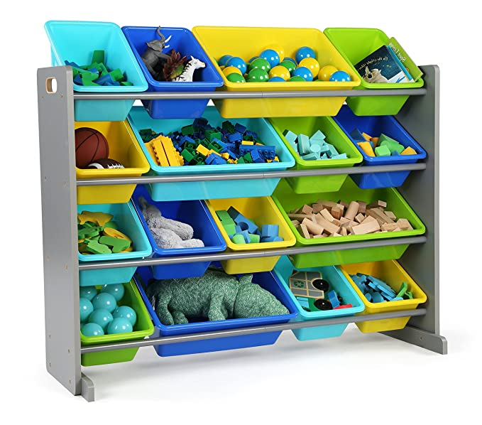 Tot Tutors Wo498 Elements Collection Wood Toy Storage Organizer, X Large, Grey/Blue/Green/Yellow by Tot Tutors